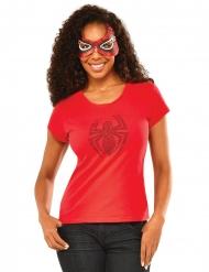 Camiseta con strass y máscara Spidergirl™ mujer