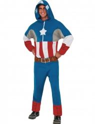 Disfraz mono con capucha Capitán América™ adulto