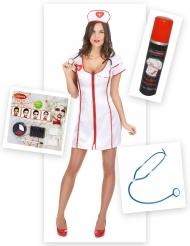Pack disfraz enfermera zombie mujer