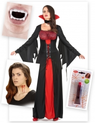 Pack disfraz vampiro ensangrentado mujer