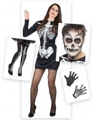 Pack disfraz esqueleto mujer