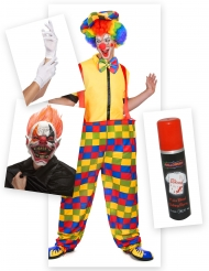 Pack disfraz payaso terrorífico Halloween