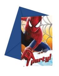 6 Tarjetas de invitación Amazing Spiderman™ 12x12.5 cm