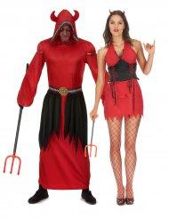 Disfraz pareja diablo rojo adulto