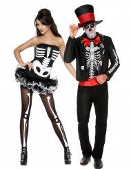 Disfraz de pareja esqueleto Halloween