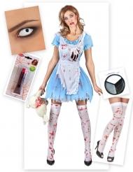 Pack disfraz Alicia zombie mujer Halloween