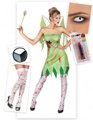 Pack disfraz de hada verde ensangrentada mujer Halloween