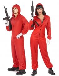 Disfraz de pareja ladrón mono rojo