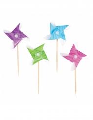 50 Palillos molinos de viento multicolor 8.5 cm