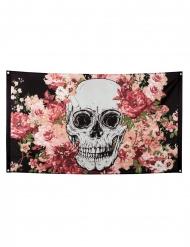 Bandera esqueleto floreado negro 90 x 150 cm