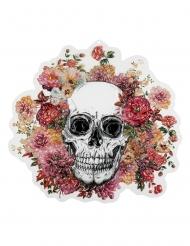 Decoración mural de plástico esqueleto florido 46 x 50 cm