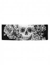 Decoración mural esqueleto floreado en poliéster 74 x 220 cm