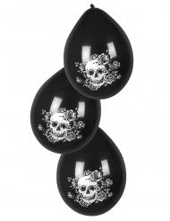 6 Globos de látex esqueleto floreado negro 25 cm