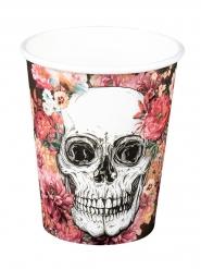 Vasos de cartón esqueleto floreado 25 cl