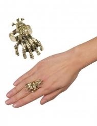 Anillo de metal garras y cráneo oro adulto