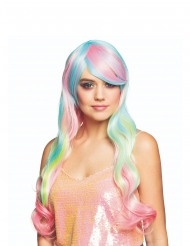 Peluca larga arcoíris pastel mujer