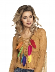 Collar de plumas multicolor adulto