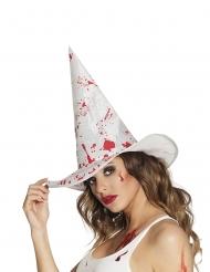 Sombrero bruja blanco ensangrentado adulto