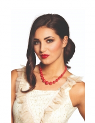 Collar perlas gruesas rojas adulto