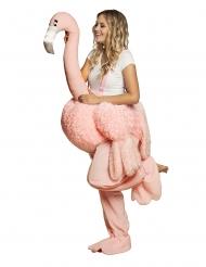 Disfraz mujer sobre flamingo rosa adulto