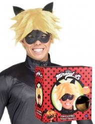 Cofre peluca y máscara Cat Noir Miraculous™ adulto