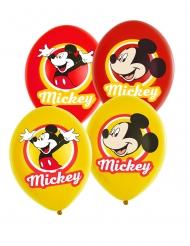 6 Globos látex Mickey Mouse™ amarillo y rojo 27.5 cm