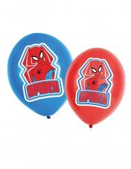6 Globos de látex Spiderman™ rojo y azul 27.5 cm