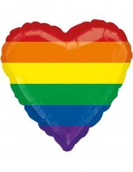 Globo aluminio corazón arcoíris 43 cm