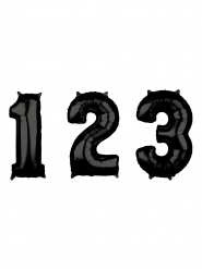 Globo aluminio negro números 43 x 66 cm