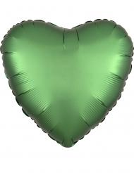Globo aluminio corazón verde esmeralda satinado 43 cm