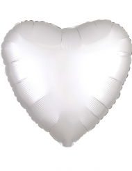 Globo aluminio corazón satinado blanco 43 cm