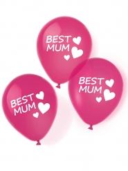 6 Globos de látex Best Mum rosas 27.5 cm