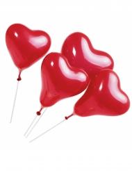 5 Globos corazón rojos con varita 20 cm