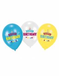 6 Globos látex Happy Birthday azul, blanco y amarillo 27.5 cm