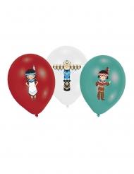 6 Globos de látex Tippie de tribus rojo, blanco y verde