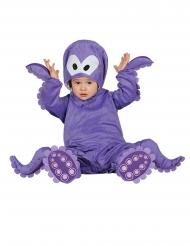Disfraz mono con capucha pulpo morado para bebé