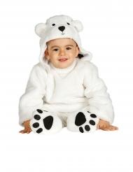 Disfraz traje con capucha oso blanco bebé