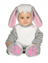 Disfraz traje con capucha conejo gris bebé