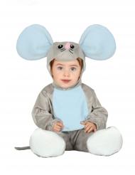 Disfraz mono con capucha ratón gris bebé