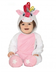 Disfraz mono con capucha unicornio blanco bebé