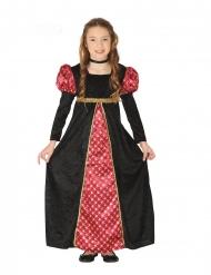 Disfraz dama medieval negro y rojo niña
