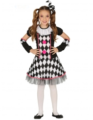 Disfraz Arlequín negro y rosa niña