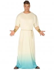 Disfraz Dios griego blanco y azul hombre