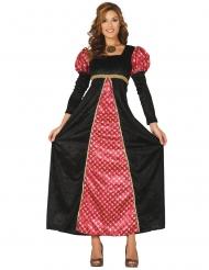 Disfraz dama medieval negro y rojo mujer