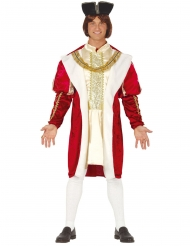 Disfraz rey medieval rojo y oro para hombre