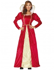 Disfraz reina medieval rojo y dorado mujer