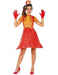 Disfraz de payaso divertido multicolor mujer