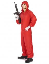 Disfraz y máscara de ladrón rojo adulto