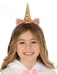 Diadema unicornio oro y rosa niña