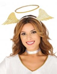 Diadema de ángel dorado con alas mujer